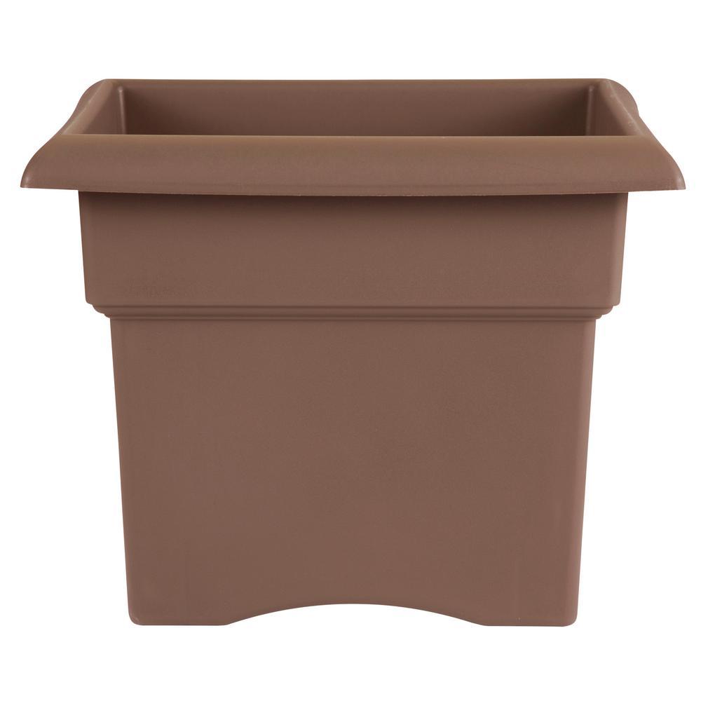 18 x 14.25 Chocolate Veranda Plastic Square Deck Box Planter