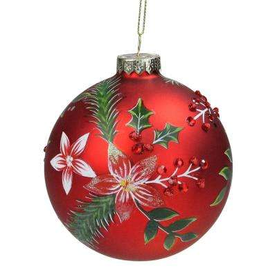4 in. (100 mm) Red Poinsettia and Jewel Holly Glass Ball Christmas Ornament