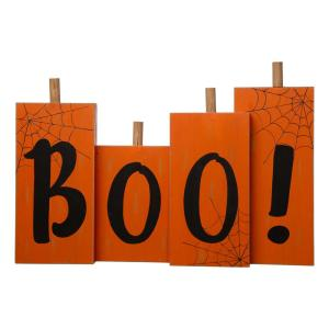 20 in. L Halloween Wooden Boo Standing Decor