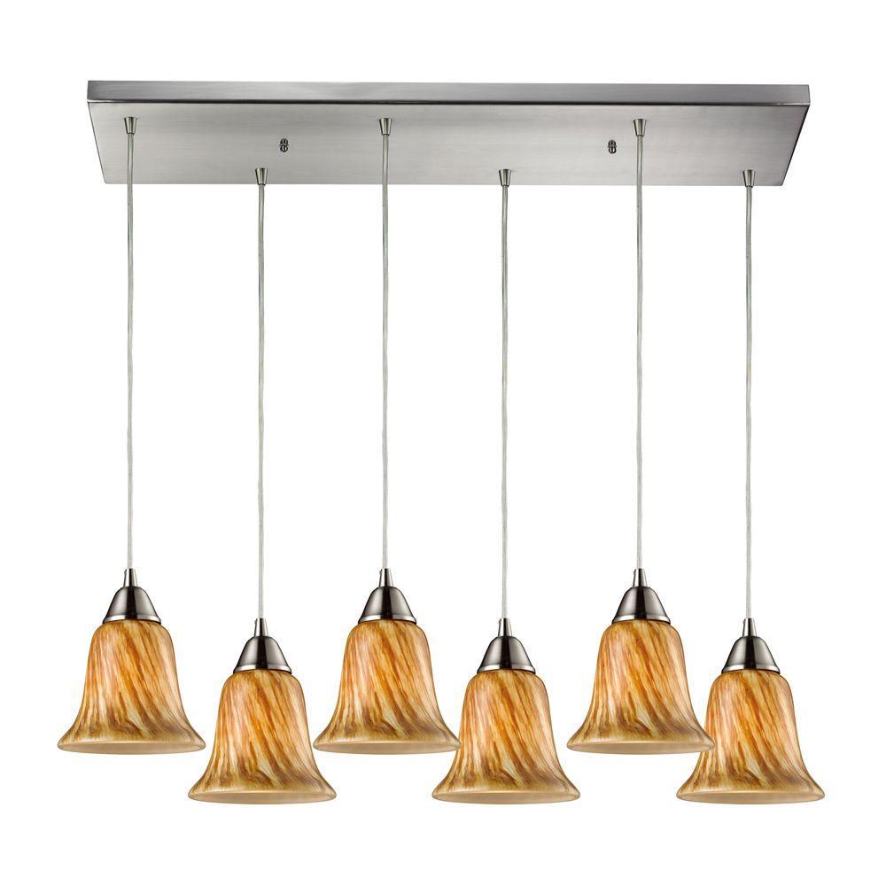 Titan Lighting Confections 6-Light Satin Nickel Ceiling Mount Pendant