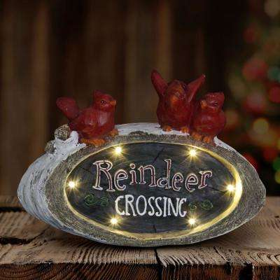 9 in. Battery Operated Christmas Reindeer Crossing Statue with Timer
