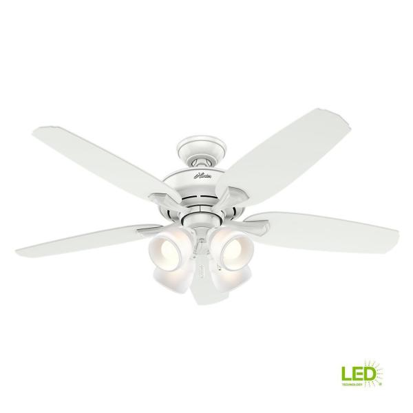 Hunter Channing 52 In Led Indoor Snow White Ceiling Fan With Light 52078 The Home Depot
