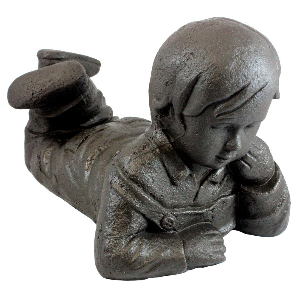 18 in. x 11 in. Bronze Color Day Dreaming Boy Lawn