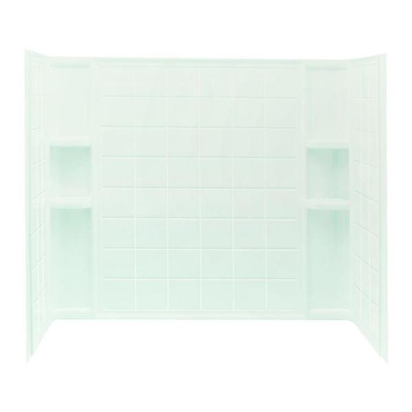 Ensemble Tile 33-1/4 in. x 60 in. x 55-1/4 in. 3-Piece Direct-to-Stud Tub and Shower Wall Set in White