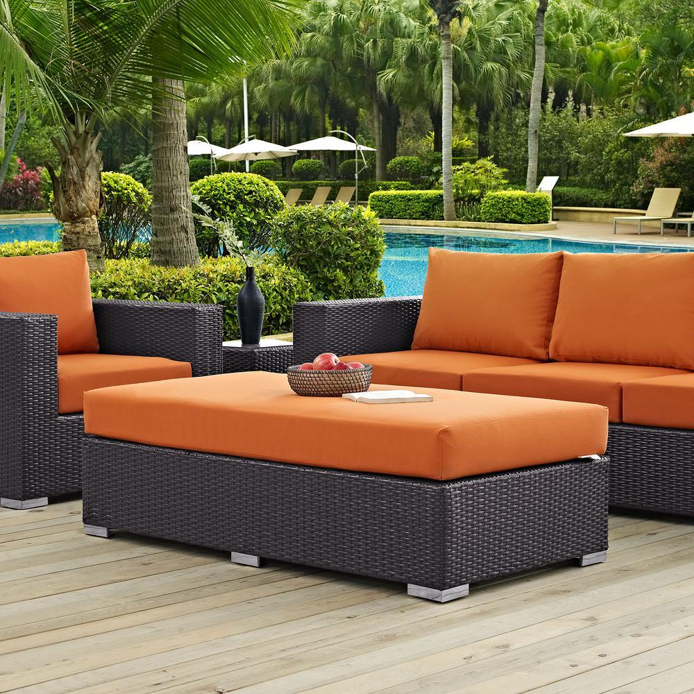 Convene Wicker Outdoor Patio Fabric Rectangle Ottoman in Espresso with Orange Cushion