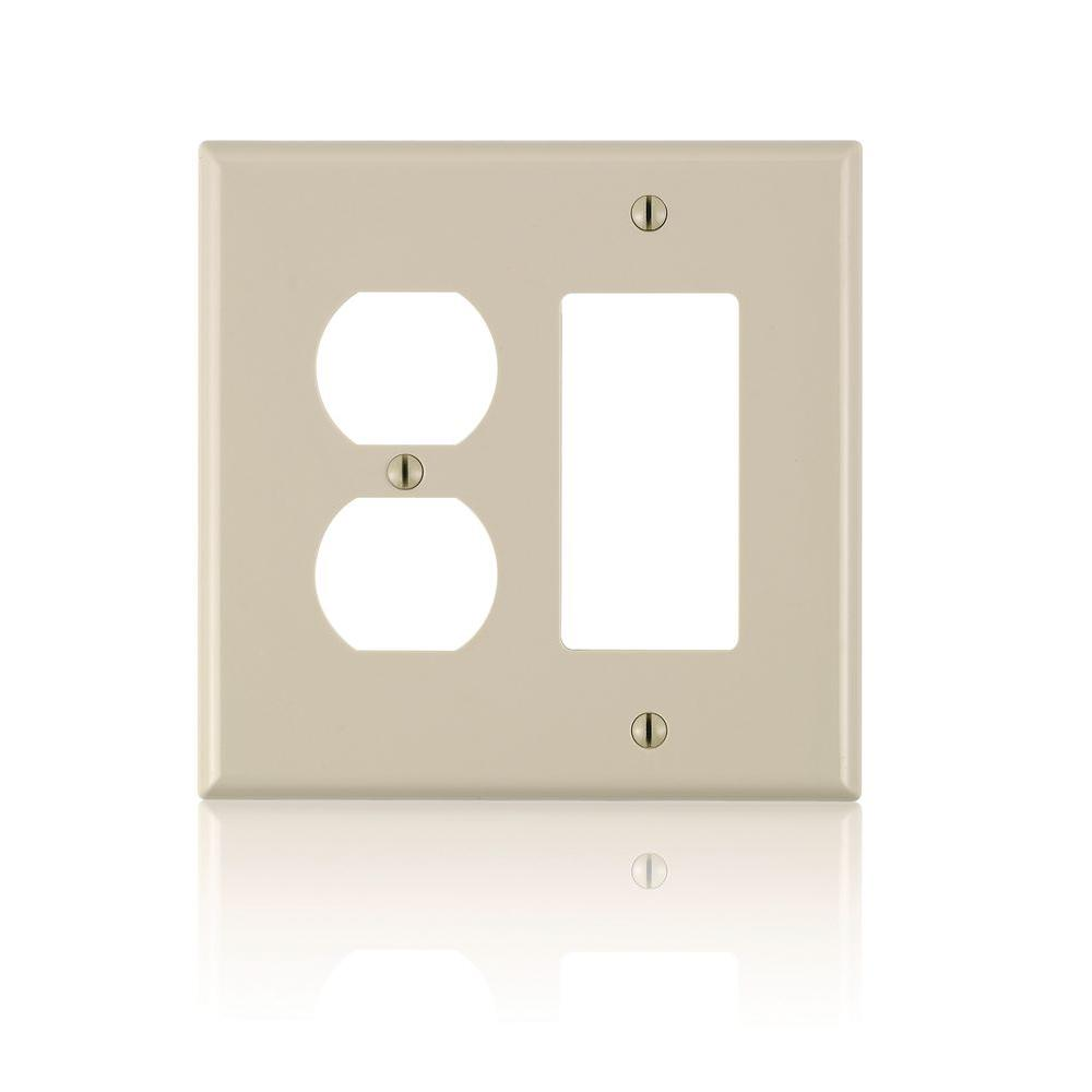 Leviton Leviton Decora 2-Gang Midway 1-Duplex Outlet Combination Nylon Wall Plate, Ivory