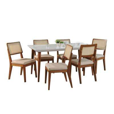 Utopia 70.86 in. and Pell 7-Piece White Gloss and Dark Beige and Maple Cream Dining Set