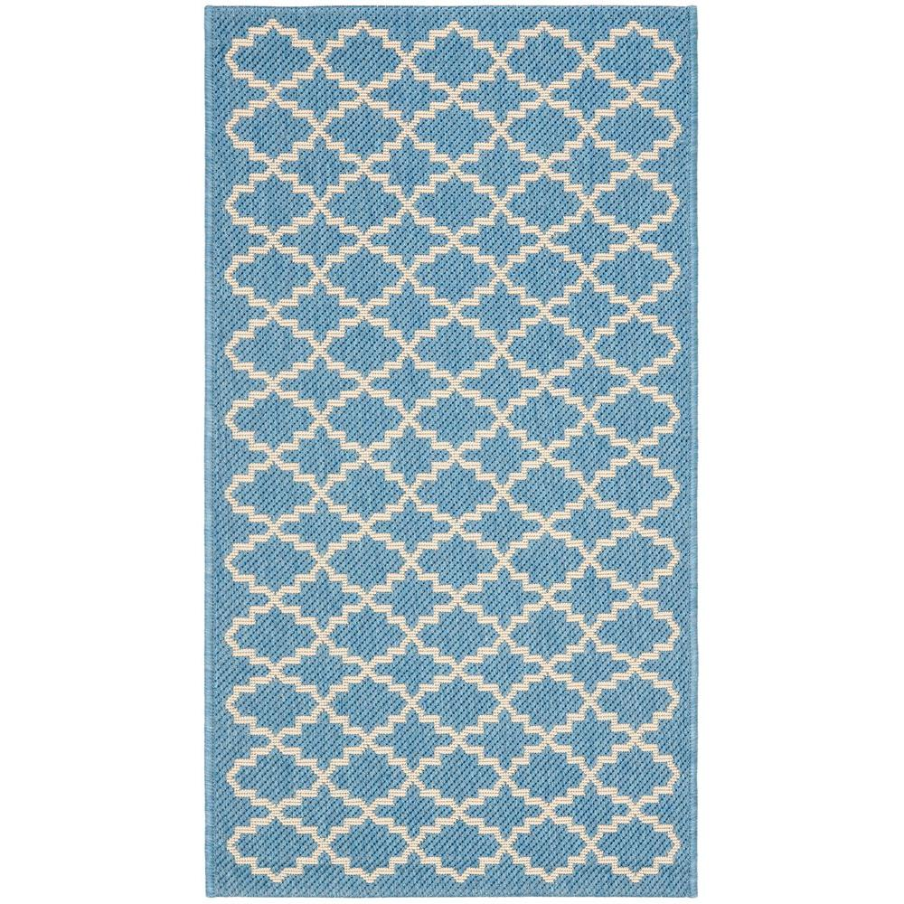 Courtyard Blue/Beige 2 ft. x 3 ft. 7 in. Indoor/Outdoor Area