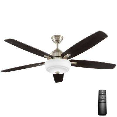 Sudler Ridge 60 in. LED Brushed Nickel Ceiling Fan with Light Kit and Remote Control