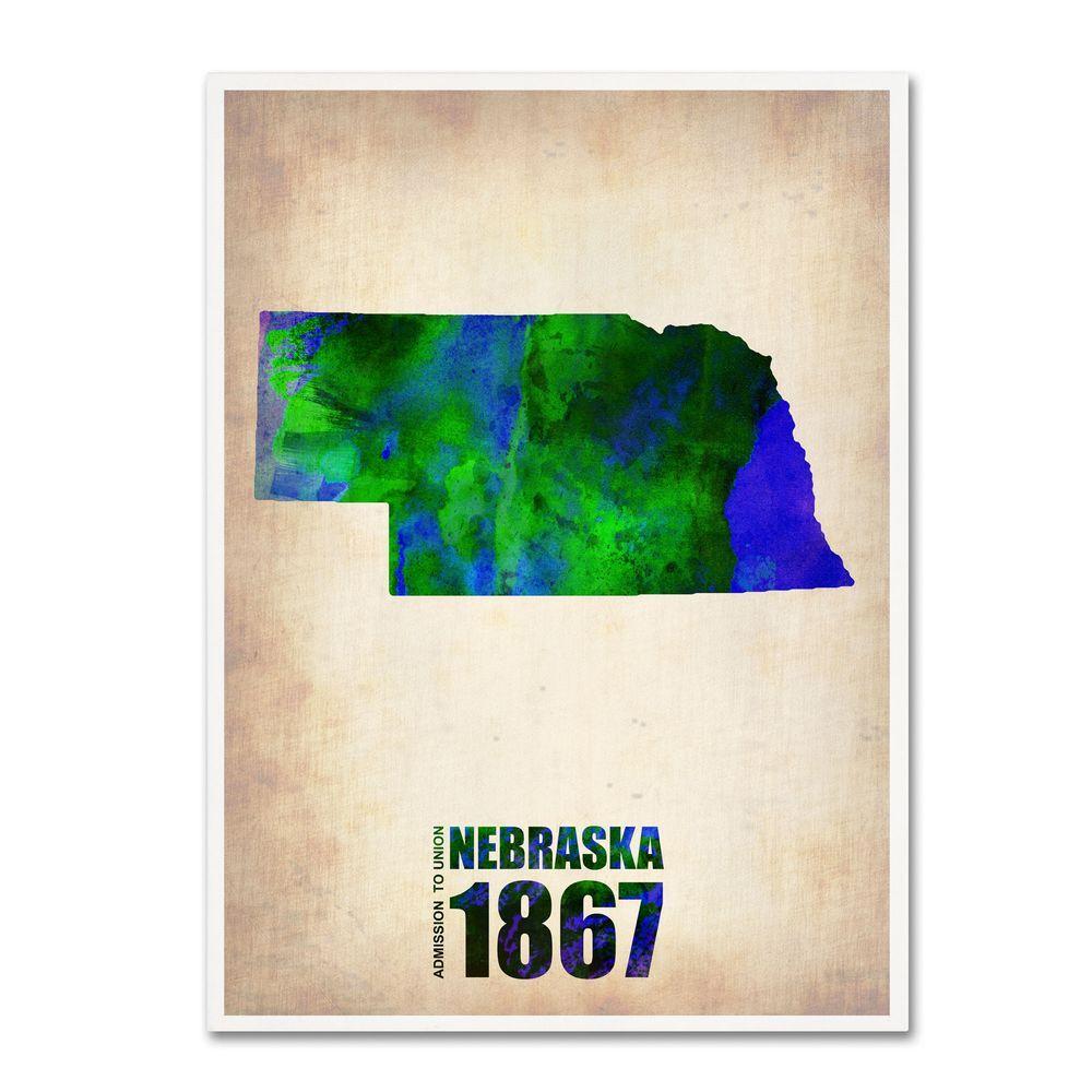 24 in. x 18 in. Nebraska Watercolor Map Canvas Art