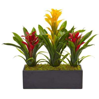 Bromeliad Artificial Flowering Plants in Yellow Red
