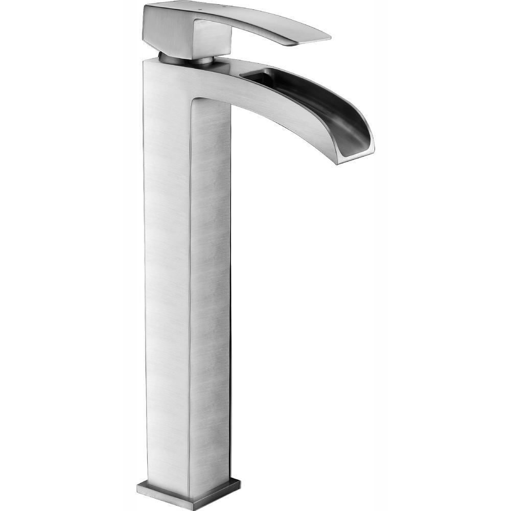 Key Series Single Hole Single-Handle Vessel Bathroom Faucet in Brushed Nickel