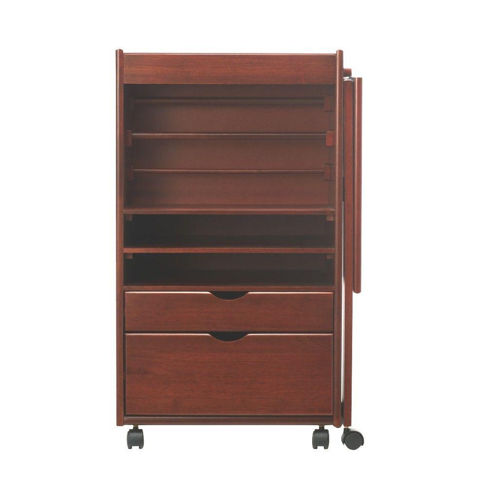 Stanton 20 in. W Deluxe Wrapping Storage Cart in Dark Cherry