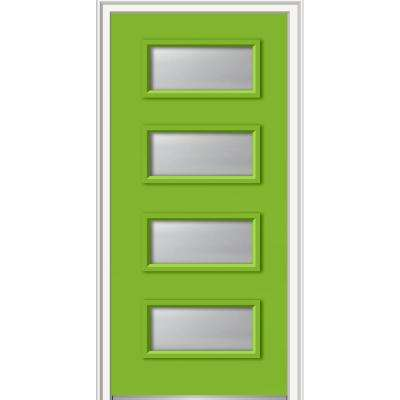 36 in. x 80 in. Celeste Right-Hand Inswing 4-Lite Clear Low-E Glass Painted Steel Prehung Front Door on 4-9/16 in. Frame