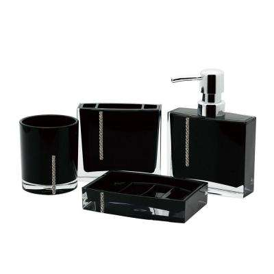 Crystal 4-Piece Bath Accessory Set in Black