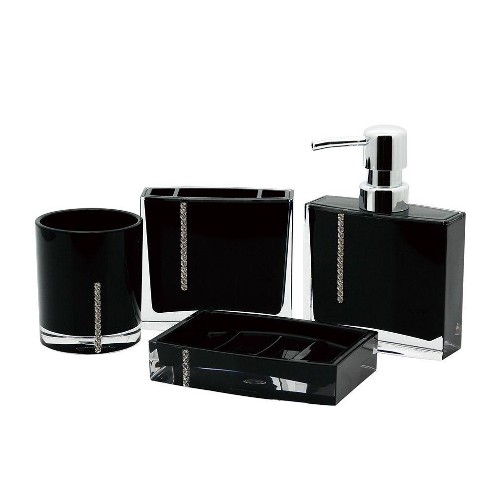 Crystal 4-Piece Bath Accessory Set in Black