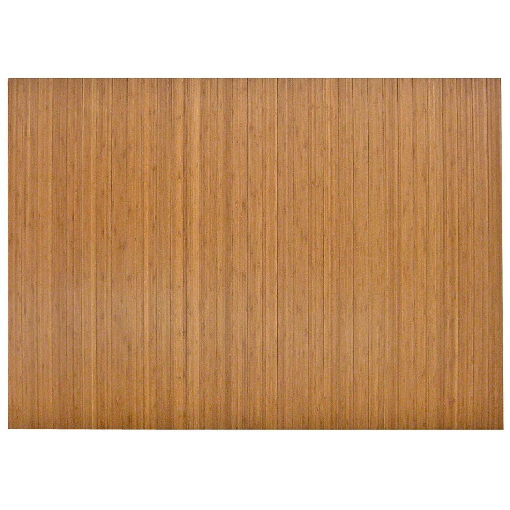 Anji Mountain Standard Natural Light Brown 48 in. x 72 in. Bamboo Roll-Up Office Chair Mat without Lip