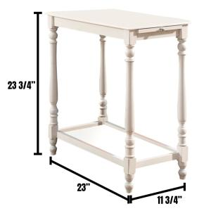 Deering White Transitional Style Open Shelf Side Table