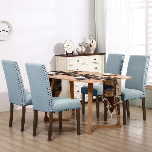 Boyel Living Blue Upholstered Dining Chairs Dining Chairs Fabric Dining Chairs With Copper Nails And Solid Wood Legs Set Of 2 Of Wf189457caa The Home Depot