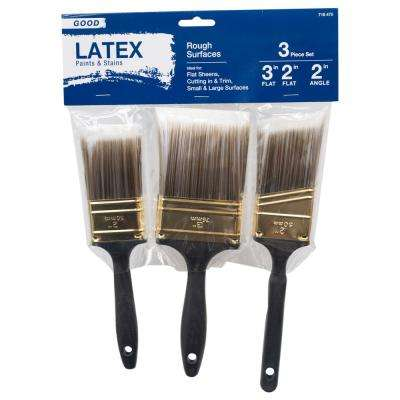 Good 2 in. Flat Cut, 3 in. Flat Cut, 2 in. Angled Sash Polyester Paint Brush Set (3-Piece)