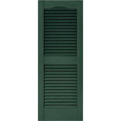 15 in. x 39 in. Louvered Vinyl Exterior Shutters Pair in #028 Forest Green