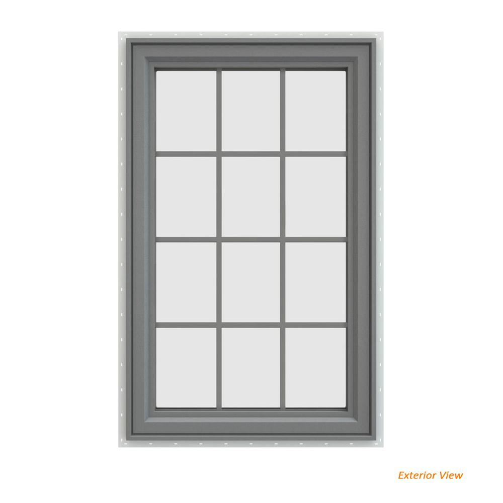 29.5 in. x 47.5 in. V-4500 Series Gray Painted Vinyl Left-Handed