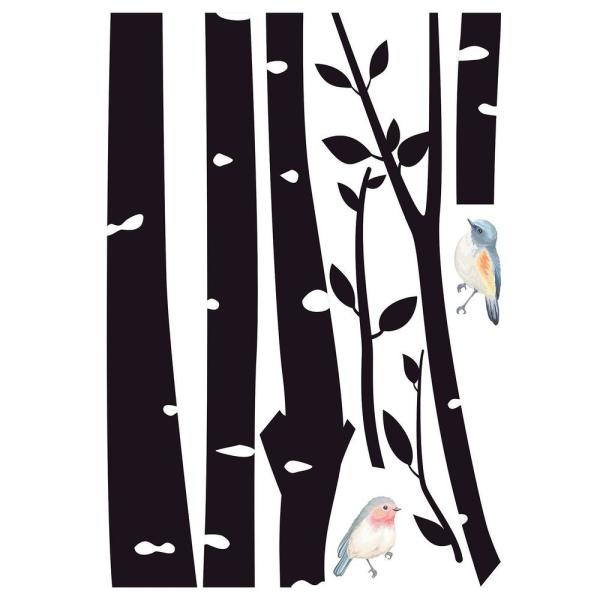 Home Decor Line Birch With Birds Black Wall Decal