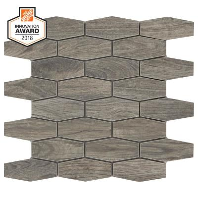 Shadow Wood Linear Hexagon 12 in. x 13-1/2 in. x 8mm Glazed Porcelain Mosaic Floor and Wall Tile (0.97 sq. ft. / piece)