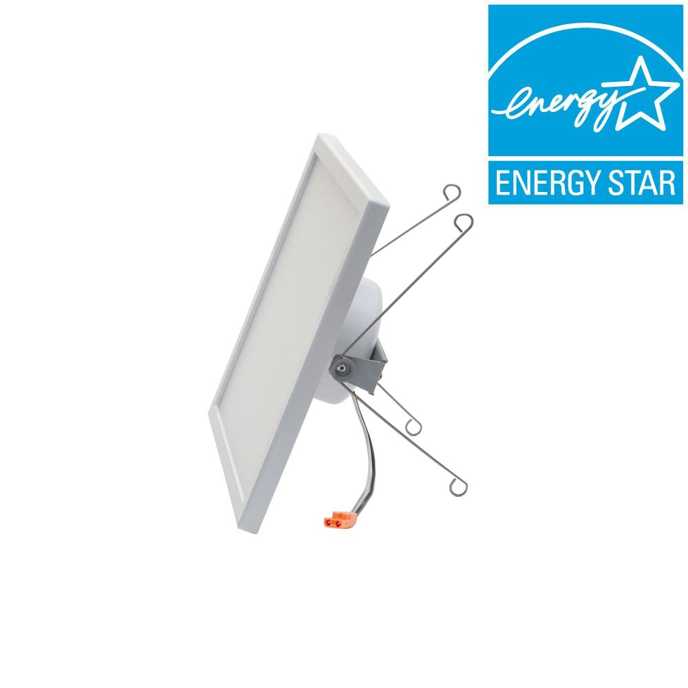 new product b4a69 5dfee Pixi LED Square 8 in. by 8 in. White Integrated LED Recessed Can Retrofit  Kit