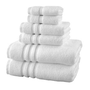 Micro Cotton 6-Piece Bath Towel Set in White
