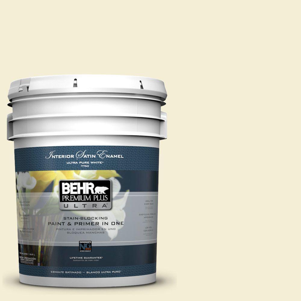BEHR Premium Plus Ultra 5-gal. #W-B-320 White Corn Satin Enamel Interior Paint