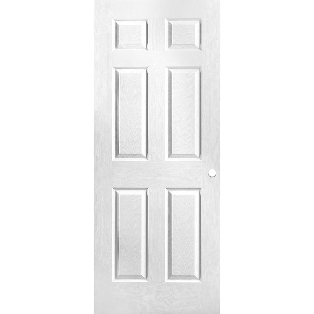 32 in. x 80 in. Primed Textured 6-Panel Hollow Core Composite Interior Door Slab with Bore