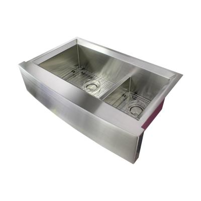 Studio Farmhouse/Apron-Front Stainless Steel 36 in. Double Offset Bowl Kitchen Sink in Brushed Finish