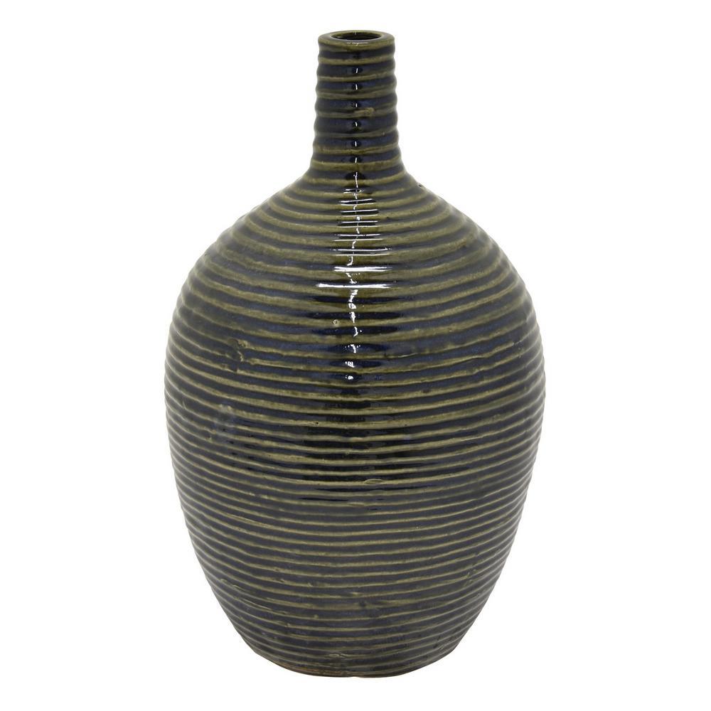 16.25 in. Green Ceramic Vase