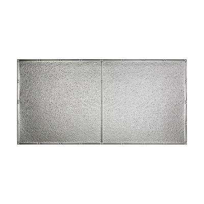 Hammered - 2 ft. x 4 ft. Vinyl Glue-Up Ceiling Tile in Brushed Aluminum