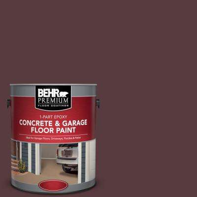 1 gal. #SC-106 Bordeaux 1-Part Epoxy Satin Interior/Exterior Concrete and Garage Floor Paint