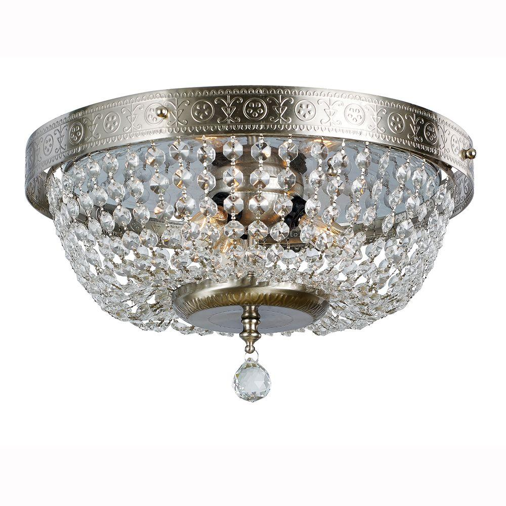 3 Light Brushed Nickel Flush Mount With Crystal Accents