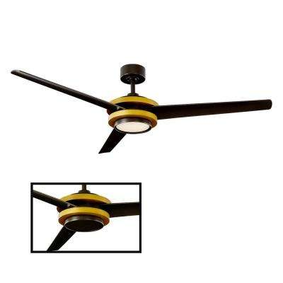 Venus 60 in. LED Indoor/Outdoor Aged Brass 3-Blade Smart Ceiling Fan with 3000K Light Kit and Wall Control