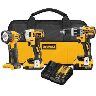 20-Volt MAX XR Lithium-Ion Cordless Combo Kit (3-Tool) with 2Ah and 4Ah Batteries, Charger and Contractor Bag