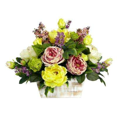 H Pink And Green Mixed Floral With White Wash Planter Silk Arrangement