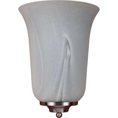Troy 4.5 in. 1-Light Indoor Brushed Nickel Wall Mount Sconce with Alabaster Glass Bell Shade