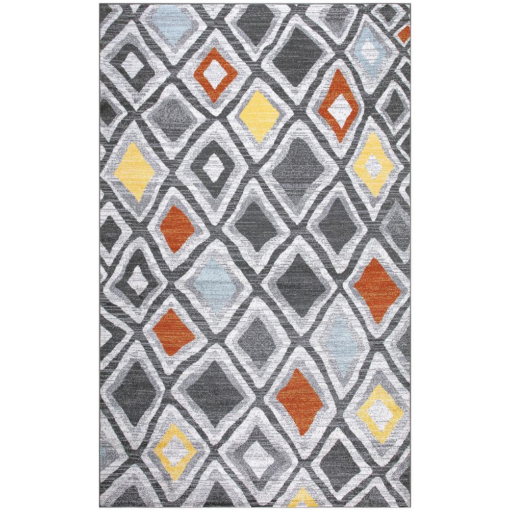 Weasley Modern Trellis Charcoal Gray/Multi 5 ft. x 7 ft. Indoor Rectangle Area Rug