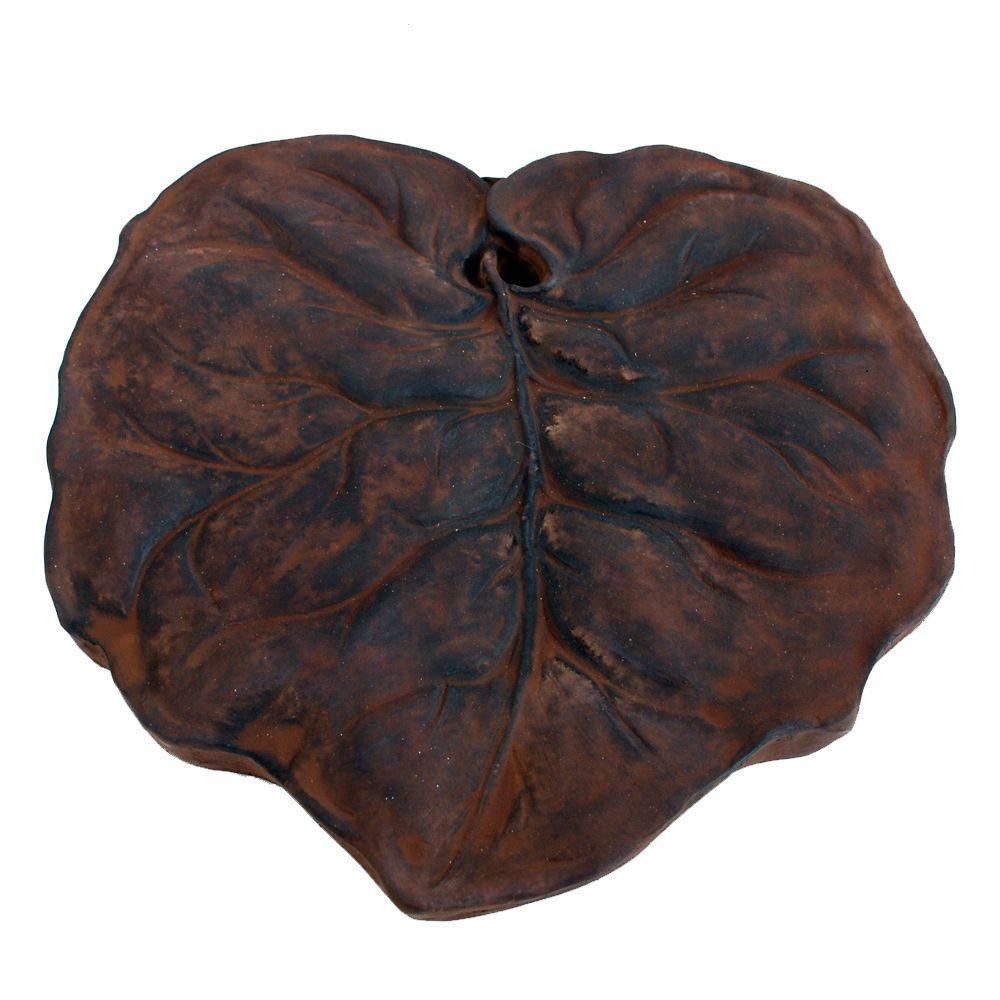 Nichols Bros. Stoneworks Cast Stone Leaf Stepstone Dark Walnut