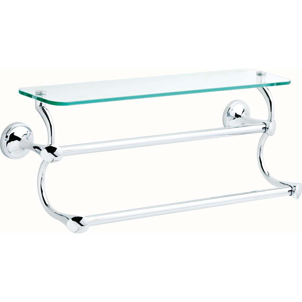 Delta 18 In Glass Shelf With Double Towel Bar In Polished Chrome