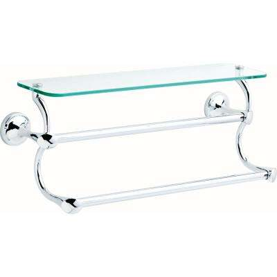 18 in. Glass Shelf with Double Towel Bar in Polished Chrome