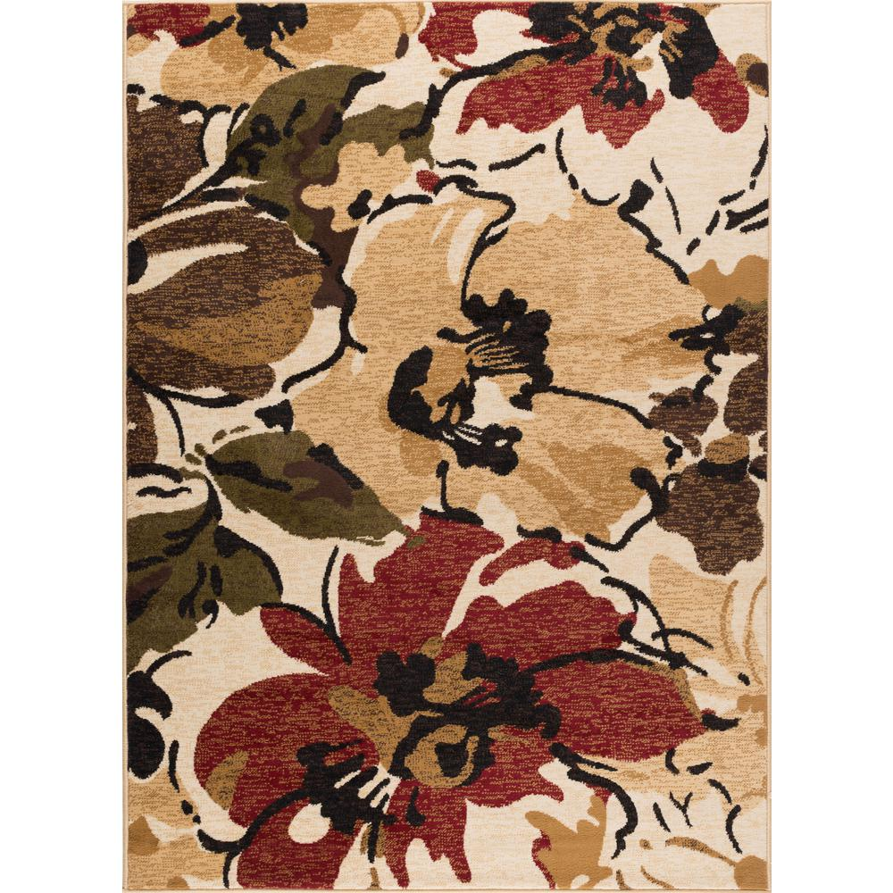 Tayse Rugs Laguna Beige 5 Ft X 7 Ft Contemporary Area Rug Lgn4570