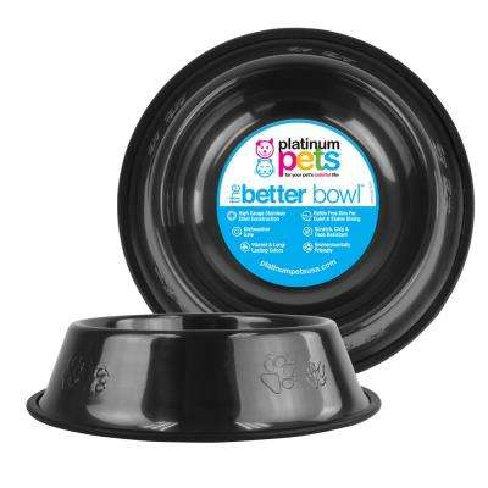 Platinum Pets Embossed Non-Tip Stainless Steel Cat/Dog Bowl, Black Chrome