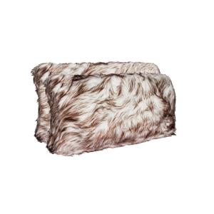 Belton Gradient Chocolate 12 inch x 20 inch Faux Sheepskin Decorative Pillow (Set of 2) by