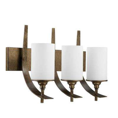 Hammons 3-Light Weathered Bronze Bath Vanity Light