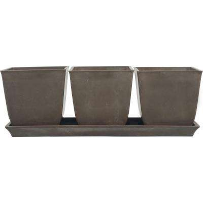 13 in. L x 4.5 in. W x 4.5 in. H Erbe Chocolate Brown Terrain Plastic Pot Set with Tray